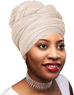 Novarena 30 Solid Colors Soft Stretch Headwraps Headband Long Hair Head Wrap Scarf Turban Tie Jersey Knit African head wraps (12. Cream)