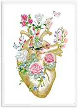 HUIGEFANBUHUA Vintage Anatomical Organ Poster Anatomy Human Print Print Brain Heart Lung Anatomy Poster Wall Art Picture Medical Room Decor 20X25CM Sin Marco