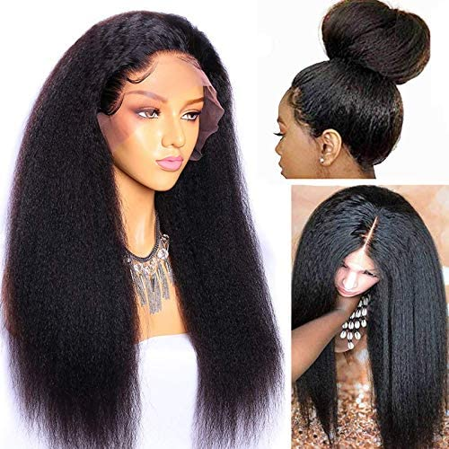 Yaki Lace Front Wigs Human Hair Pre Plucked 150 Density 24inch MSGEM Mongolian Kinky Straight product image