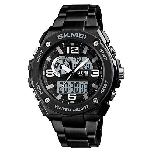 YK WATCH Modestahlband mit elektronischer Uhr mit Doppelanzeige Herren Student 3-Mal Countdown Wecker Sportuhr,Black