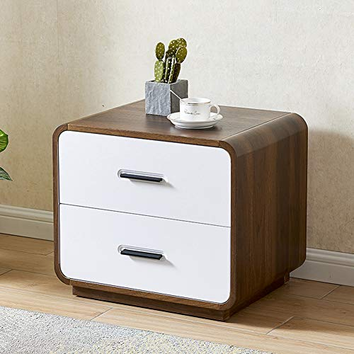 BAIHAO Bedside Table Simple Small Nightstand Multifunctional Bedside Cabinet Scandinavian Style Bedroom Drawers Side Table End Table with Storage Shelf