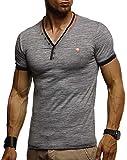 LEIF NELSON LN1330, maglietta estiva da uomo, scollo a V, vestibilità aderente, in cotone, alla moda, a maniche corte antracite. XXL