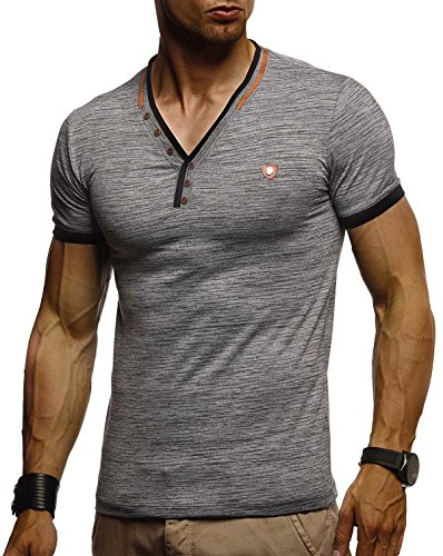 Leif Nelson Herren T-Shirt V-Ausschnitt Sweatshirt Longsleeve Basic Shirt Hoodie Slim Fit LN1330; Größe XL, Anthrazit