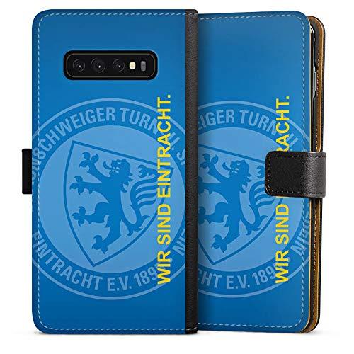 DeinDesign Tasche kompatibel mit Samsung Galaxy S10 Plus Leder Flip Case Ledertasche Eintracht Braunschweig Offizielles Lizenzprodukt Statement