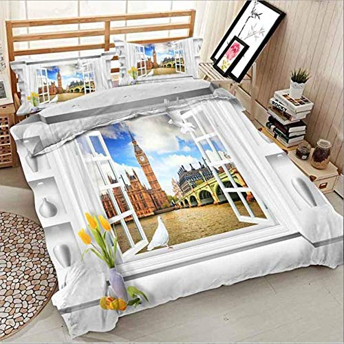 WGLG Double Bed Duvet Sets, Bedding Set Duvet Cover 240/220 And Pillowcases Home Textile 3D Comforters Set Ocean Villa Scenery