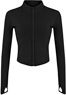 Gihuo Women's Athletic Full Zip Lightweight Workout Jacket with Thumb Holes