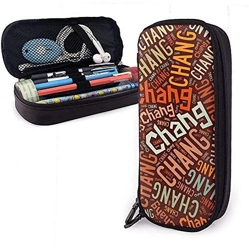 Chang - Apellido americano Estuche de cuero de alta capacidad Estuche para lápices Organizador de papelería Organizador Marcador universitario Estuche Bolso de viaje