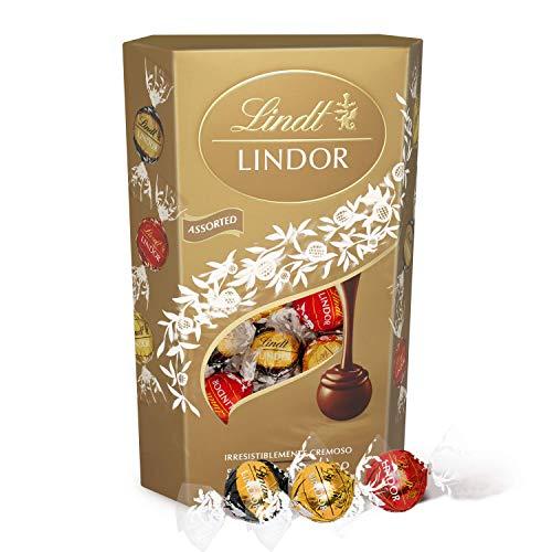 Lindt Lindor Surtido de Bombones de Chocolate - Aprox. 26-27 Bombones, 337g (incluye Bombones de Chocolate con Leche, Blanco y Negro)