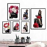 WIOIW Mode Femmes Paris Parfum Rouge à lèvres Fleur Nordique cosmétique Affiche HD Imprime Mur Art Toile Peinture Chambre Salon Salon de beauté Studio décor à la Maison