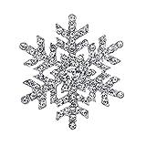 [エバーフェイス] EVER FAITH ブローチ 雪の結晶 クリア 白い クリスタル 合金 シルバートーン