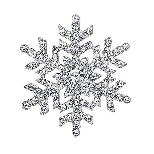 EVER FAITH® österreichischen Kristall Schneeflocke Blume elegant Braut Brosche Klar Silber-Ton A11453-1