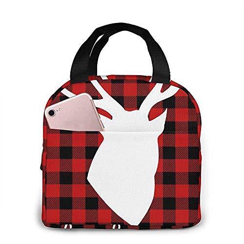 Picknicktas voor buiten reizen: neopreen lunchbox met elandmotief in zwart en rood geruit, om eten en dranken urenlang koel of warm te houden.