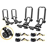 AA-Racks 2 Pair Double Folding J-Bar Rack for Kayak Carrier Canoe Boat Paddle Board Surfboard Roof Top Mount on Car SUV Truck Crossbar with Ratchet Lashing Straps