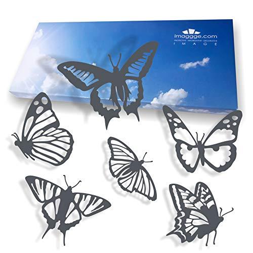 Alerta de ventana – Adhesivos anticolisión para evitar golpes de personas y pájaros en vidrio – Juego de 18 pegatinas detalladas de mariposas – Color: gris oscuro