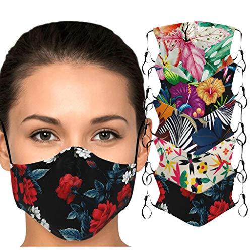 Daringjourney Packung Mit 5 Staub Gesichtschutz FüR Erwachsene Blumendruck Mundschutz Waschbarer Mund- Und Nasenschutz Waschlappen(5 Verschiedene Muster)