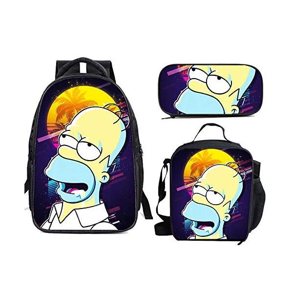 51YN6ZN4ZfL. SS600  - The Si-mps-ons - Juego de mochila escolar con bolsas de almuerzo y estuche ligero para viaje para niños y niñas
