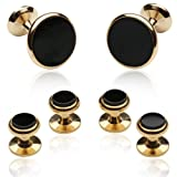 Cuff-Daddy Mens Black Onyx Gold Cufflinks and Studs Formal Set with Presentation Gift Box Party Special Occasions Wedding Anniversary Suit French Cuff Shirts