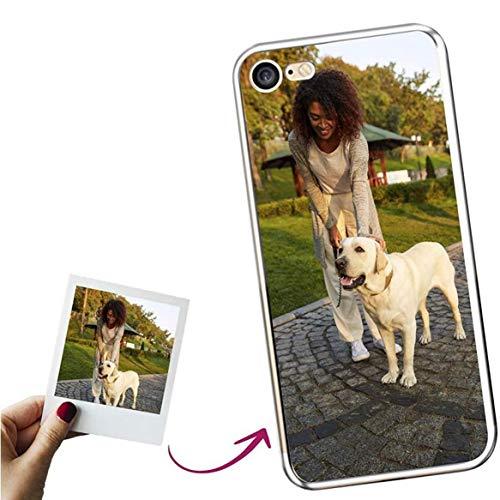 Mookase Funda para iPhone 7 Personalizada para TU MÓVIL con Imagen O Texto, Carcasa Personalizable, Gel Flexible, Borde Trasparente, Regalo Original