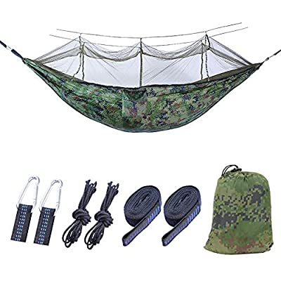 Tavolozza Camping Hammock with Mosquito/Bug Net, 10ft Hammock Tree Straps and Carabiners, Easy Assembly, Camouflage, Portable Parachute Nylon Hammock for Camping, Backpacking, Survival, Travel, Indoor