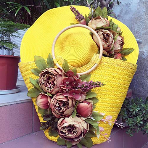 ABO The Peony Flower Hat Bag suit goes out to the beach sonnenschutz Woven Hat Beach Beach Beach gelb