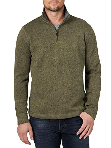 Wrangler Authentics Men's Sweater Fleece Quarter-Zip, Olive Night, Medium