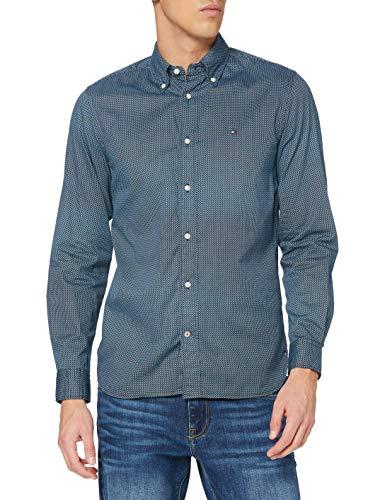 Tommy Hilfiger Geo Floral Print Shirt Camisa, Carbon Navy/Multi, L para Hombre