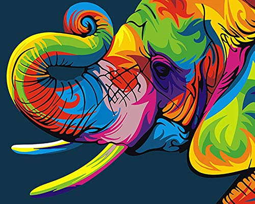 BOSHUN Paint by Numbers Kits with Brushes and Acrylic Pigment DIY Canvas Painting for Adults Beginner- Neon Elephant 16 x 20 inch(Without Frame)