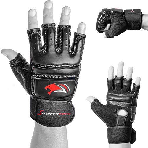 Sportstech BXM10 MMA Handschuhe für Kampfsport | für Damen und Herren | ideal für UFC, Freefight, Sparring, Kick-Boxing, Sandsack & Boxsack| mit extra starkem Schutz | hochwertige Qualität aus Leder