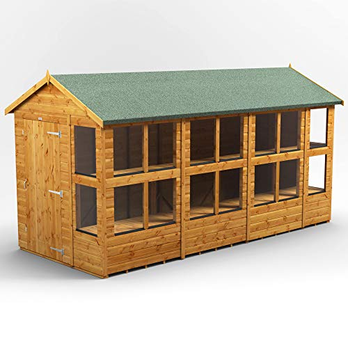 POWER | 14x6 Apex Potting Shed | 14 x 6 Wooden Garden Greenhouse Sheds | Super Fast Delivery