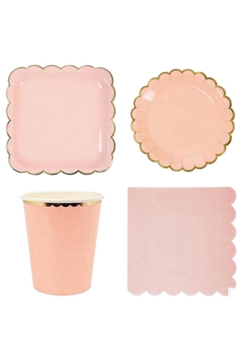 適応的むき出し些細Lumierechat 紙皿 紙コップ パーティー イベント 誕生日 テーブルウェア ナプキン ペーパープレート お皿 8名様セット スクエア a-4856(スクエア/ピンク)