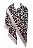 Estampado de Leopardo de Las Mujeres Cálido Bufanda de Invierno Abrigo Mantón (Rosado)