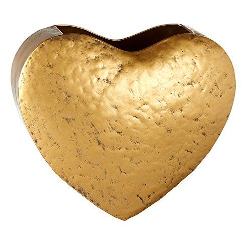 Gold Heart Patina Hanging Wall Pocket Mail Storage Basket
