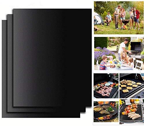 FIF BBQ Grill Mat, 3er Set Antihaft-Kochmatten und Backöfen, Grillplatten zum Grillen von Fleisch, Meeresfrüchten, Gemüse 15,75 x 13 Zoll Schwarz