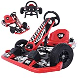 HUZONG 36V Electric Kart Drifting, Children Electric Racing Scooter, Outdoor Pedal Ride-On Toy with Flashing Lights, Go Karting Car Battery-Powered Kid's Riding, Best Gifts for Boys & Girls (Red)
