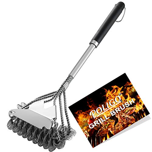 POLIGO BBQ Grill Brush and Scraper Bristle Free - 18inch Stainless Steel BBQ Cleaning Brush - with Super Wide Scraper for Efficiently Cleaning - 3-1 Helix Brushes Design Safe Grill Cleaning Brush