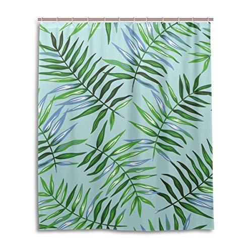 JSTEL Decor Duschvorhang Tropische Exotische Palmenblatt-Muster, Bedruckt, 100prozent Polyester-Stoff, Duschvorhang, 152,4 x 182,9 cm, für Zuhause, Badezimmer, Dekorative Duschvorhänge