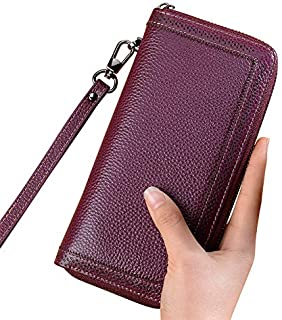 Wallet ladies long zipper wallet clutch bag mobile phone bag purple