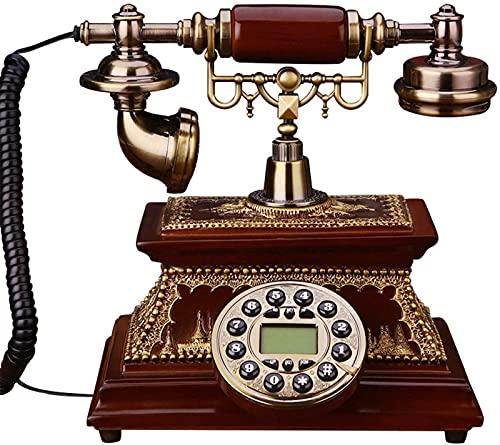 CJDM Teléfono clásico de la Vendimia, teléfono Fijo Europeo de Madera Maciza con dial Giratorio, teléfono Retro, Oficina en casa, teléfono Antiguo clásico, línea Fija
