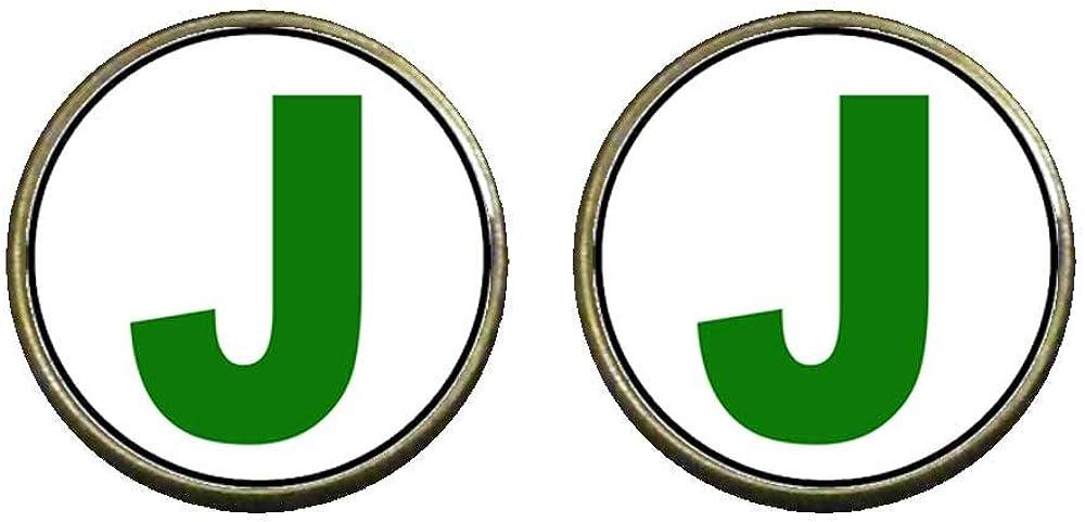 GiftJewelryShop Bronze Retro Style Green Letter J Photo Clip On Earrings 14mm Diameter