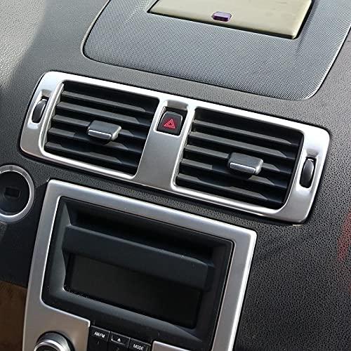 Acero Inoxidable Central Dash Aire Acuele de Aire Control de ventilación Cubra Trim/Ajuste para Volvo C30 S40 V50 C70 (Color : Silver)