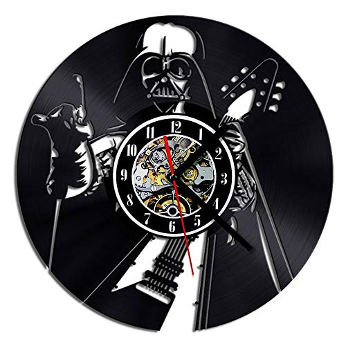 FDGFDG 3D Hohle LED-Schallplattenuhr Rock Guitar Design Decor Home Hängende Wanduhr Kreative und Retro-Uhr
