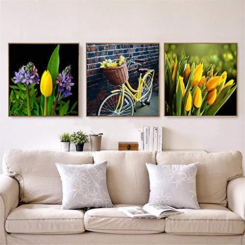Cqzk Carteles e Impresiones de Belleza Flores Amarillas Tulipanes de Bicicleta Pintura Arte de la Pared Lienzo Cuadros Vida Moderna Comedor Decoración del Dormitorio 40 × 40 cm × 3 Sin Marco