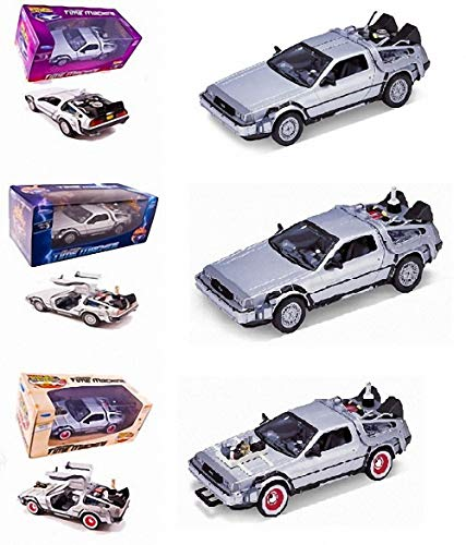 Regreso al Futuro Pack 3 MAQUETAS Delorean Coches Tres PELÍCULAS I, II Y III Escala 1/24 Back TO The Future 1 2 3 DE Welly 1:24 Die Cast