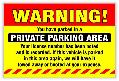 """Private Parking Stickers (Pack of 50) Reserved No Permit Area Violation Warning Notice Vehicle is Illegally Parked - Large Size 6"""" X 9"""" – Yellow Photo #7"""