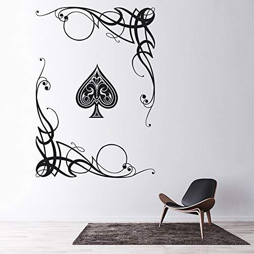Kartenspiel Wandtattoo Ass Poker Spaten Wirbel Blume Kunst Wandbild Club Spielzimmer Interieur 42 * 30cm