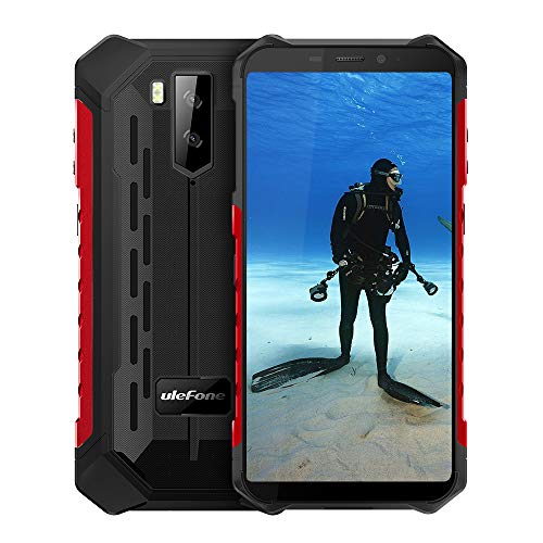 Ulefone Armor X5 IP68 Waterproof Rugged Cell Phone Unlocked,Android 9.0 Outdoor Smartphone 5.5' 18:9 FHD+,MT6763 3GB + 32GB,Dual 4G LTE Global Bands,GPS+GLONASS+NFC,5000mAh Battery,Shockproof(Red)