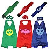 Maribus-FL Bulk Superhero Capes and Masks for Kids - Satin Capes and Felt Masks With Embodied Three Bracelets for Boys and Girls (PJ-)