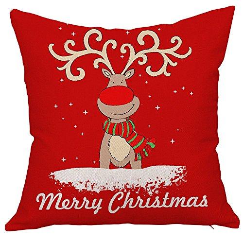 nikgic Navidad Ciervo Rojo Cuadrado manta funda de almohada hogar algodón de lino sofá almohada cojín para sofá decorativo