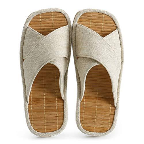 Pantoufles Bamboo Mat Slippers Sandals Unisexe Chaussures de Printemps et d'été en Tissu Salon, Jardin, Chambre à Coucher,01,36/37