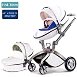 Baby Stroller 2020, Hot Mom Baby Carriage with Bassinet Combo High Landscape Pu Leather Stroller,White
